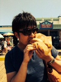 First day in Los Angeles! Grabbing a Hot Dog in Santa Monica.